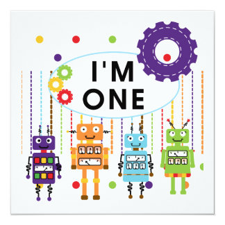 Robot First Birthday Tshirts and Gifts Card