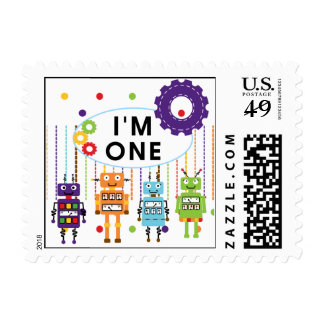 Robot First Birthday Tshirts and Gifts Postage Stamps