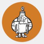 Robot formado cebolla dibujado mano pegatina redonda