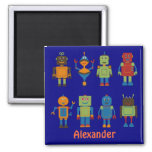 Robot Friends Child's Personalized Fridge Magnet