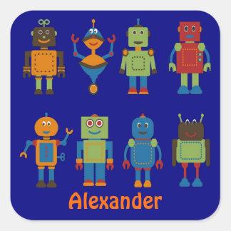 Robot Friends Child's Personalized Sticker