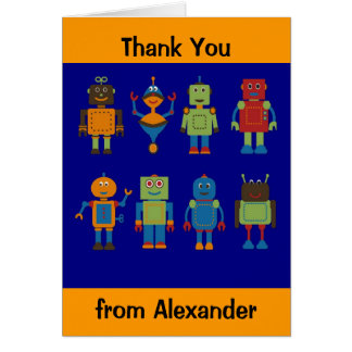 Robot Friends Child's Personalized Thank You Card