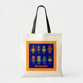 Robot Friends Child's Personalized Tote Bag