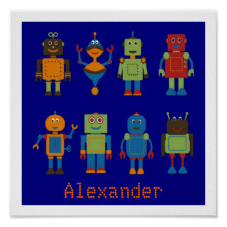 Robot Friends Personalized Kids Poster