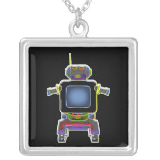 Robot fun , funky and retro silver plated necklace