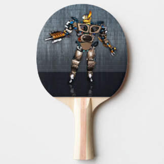 Robot Fun Ping Pong Paddle, Red Rubber Back Ping Pong Paddle