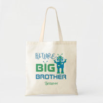 Robot Future Big Brother Blue Green Kids Sibling Tote Bag