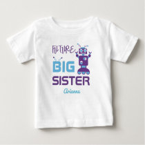 Robot Future Big Sister Purple Cute Personalized Baby T-Shirt