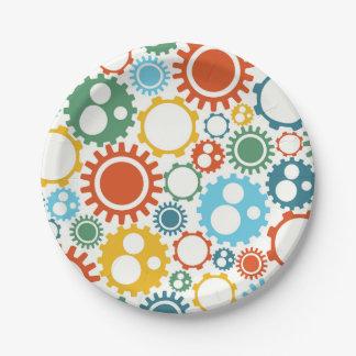 Robot Gears Pattern Paper Plate