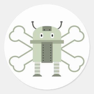 robot geeky y bandera pirata etiquetas redondas