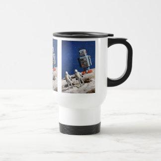 Robot gigante en la luna tazas de café