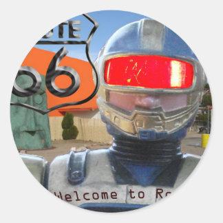 Robot Giganticus Route 66 Classic Round Sticker