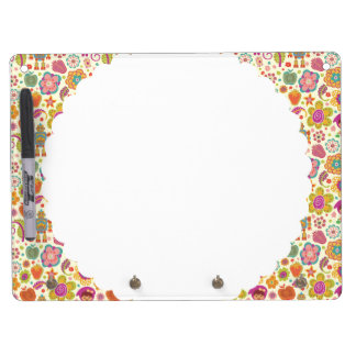Robot Girl and Garden Kids Pattern Dry Erase Board With Keychain Holder