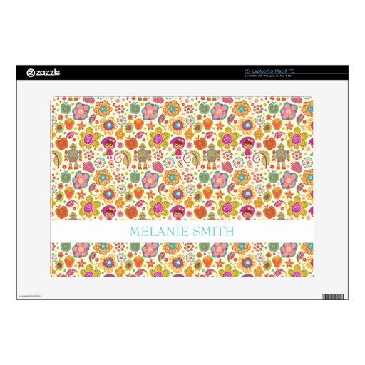 """Robot Girl and Garden Kids Pattern 15"""" Laptop Skins"""