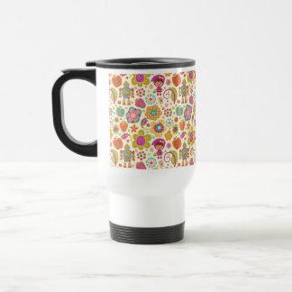 Robot Girl and Garden Kids Pattern Travel Mug