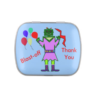 Robot Girl and Party Balloons Blast-Off Thank You Jelly Belly Tin