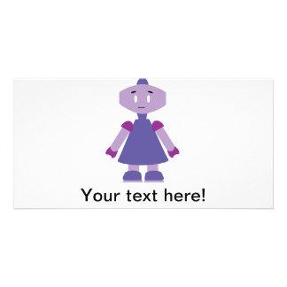 Robot girl cartoon card