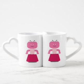 Robot girl cartoon coffee mug set