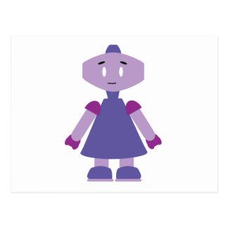 Robot girl cartoon postcard