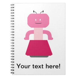 Robot girl cartoon spiral notebook