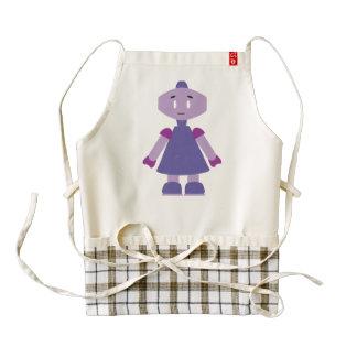 Robot girl cartoon zazzle HEART apron