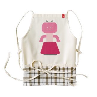 Robot girl cartoon zazzle HEART apron