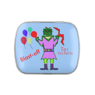 Robot Girl Party Balloons Thank You PERSONALIZE Jelly Belly Candy Tins