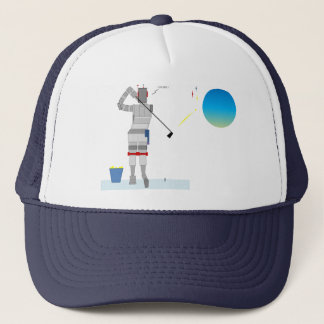 Robot Golfer in Space Trucker Hat