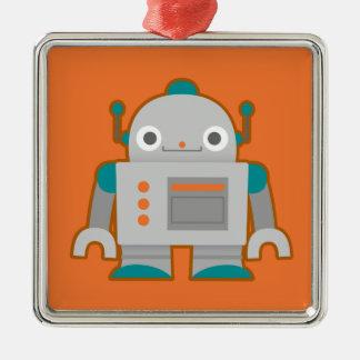 Robot gris lindo adorno navideño cuadrado de metal