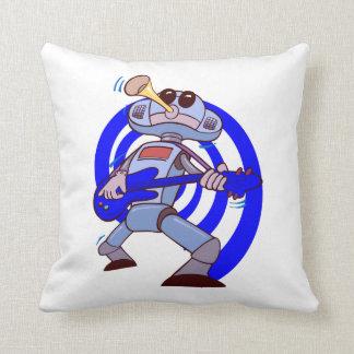 robot guitar player blue png throw pillows