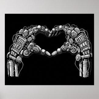 Robot hands make heart shape poster