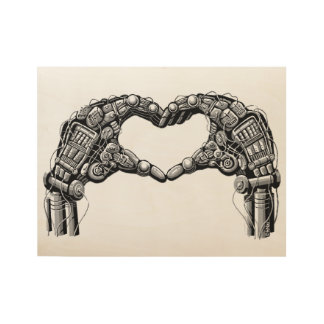 Robot hands make heart shape wood poster
