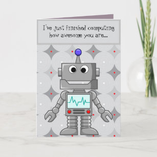 set of 60 Robot Birthday cards in green