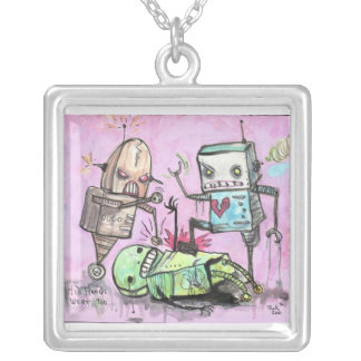 Robot Hate Crime Silver Plated Necklace