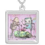 Robot Hate Crime Square Pendant Necklace