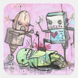 Robot Hate Crime Square Sticker