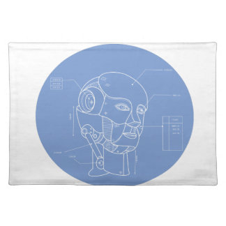 Robot Head Technical Drawing Placemat