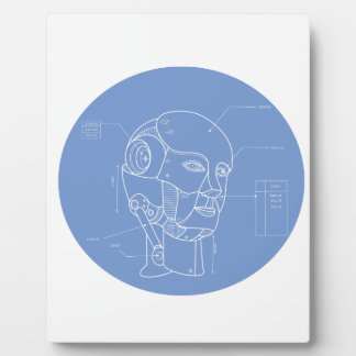 Robot Head Technical Drawing Plaque