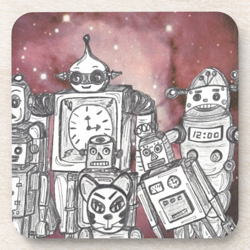 Robot Holiday 1 Drink Coasters