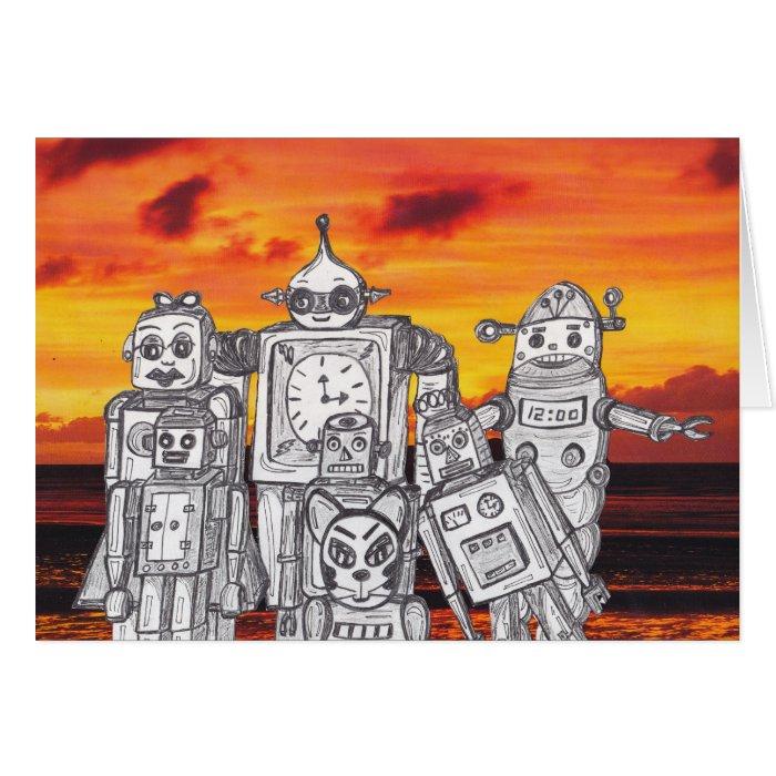 Robot Holiday 3 Card