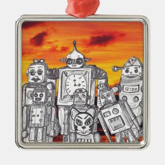 Robot Holiday 3 Metal Ornament