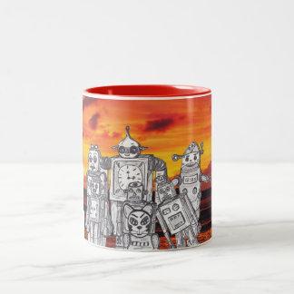 Robot Holiday 3 Two-Tone Coffee Mug