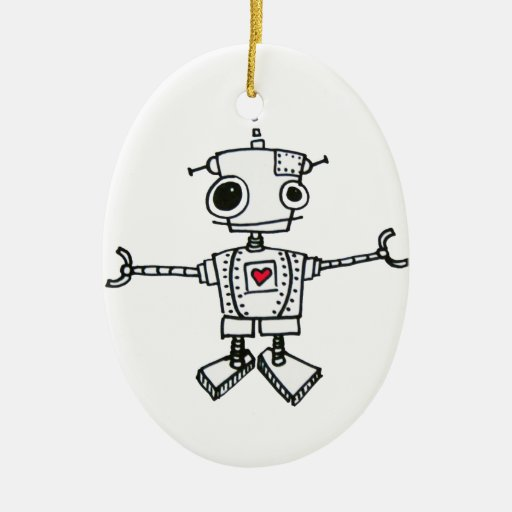 Robot hug Double-Sided oval ceramic christmas ornament