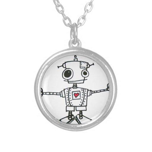 Robot hug round pendant necklace