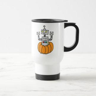 Robot in Pumpkin 15 Oz Stainless Steel Travel Mug