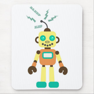 Robot in Yellow Orange and Green Mouse Pads