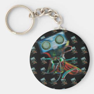 Robot Inspired Basic Round Button Keychain