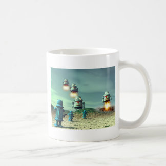 Robot Invasion From Above V2 Classic White Coffee Mug