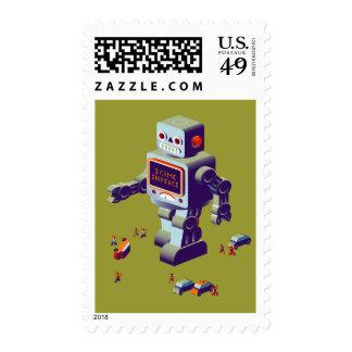 robot invasion stamp