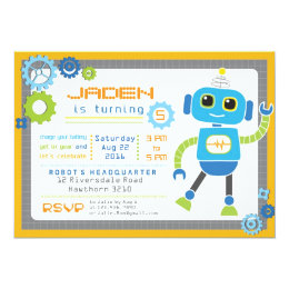 Robot birthday invitations announcements zazzle robot invitation robot party robot birthday filmwisefo Images